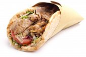 stock photo of bread rolls  - close up of kebab sandwich on white background - JPG