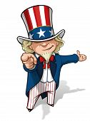 stock photo of goatee  - Clean-cut, overview cartoon illustration of Uncle Sam pointing the finger in a classic WWI poster style and presenting.