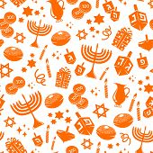stock photo of menorah  - seamless pattern with symbols the jewish holiday Hanukkah - JPG