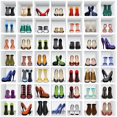 stock photo of platform shoes  - seamless background with shoes on shelves of shop or dressing room - JPG