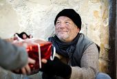 foto of sad christmas  - Desperate homeless man is on the street - JPG