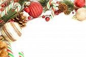 picture of candy cane border  - Christmas corner border with baubles - JPG