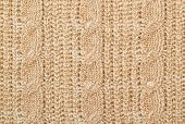 stock photo of lurex  - Fabric beige knit woolen material with lurex - JPG