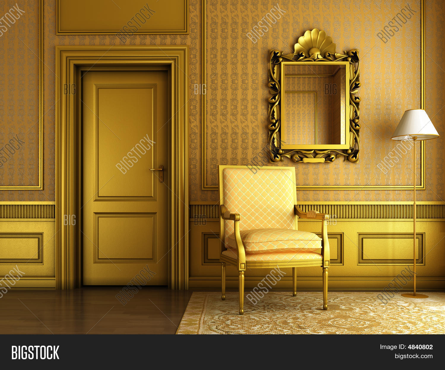 Classic Palace Interior With Armchair Mirror And Golden