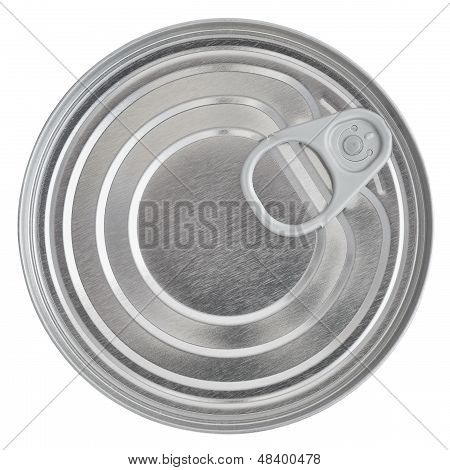 Tin Can Lid, Food Preserve Ringpull Canister Sealed Top, Isolated Macro Closeup