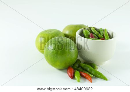 Thai pepper and green lemon