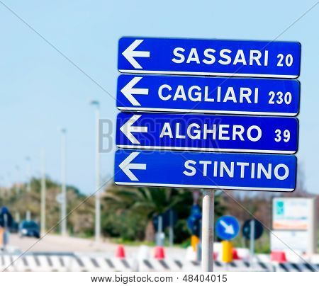 Road Sign And Distances
