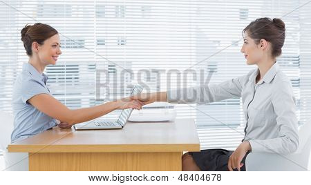 Businesswoman shaking hands with interviewee at desk in office