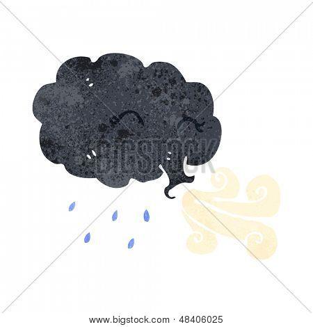 retro cartoon raincloud