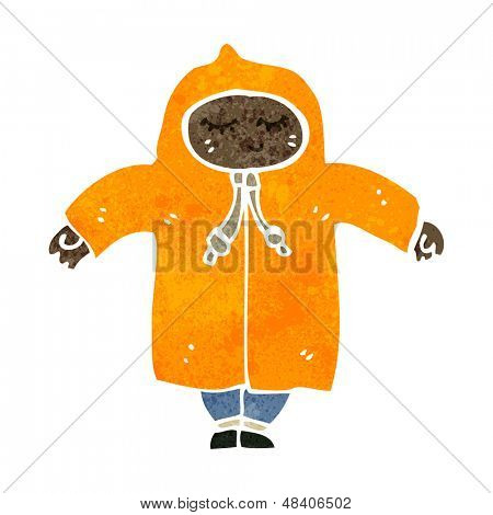 retro cartoon boy in raincoat