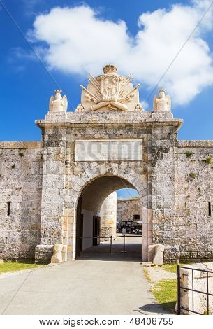 Entrabce gate of La Mola Fortress of Isabel II at Menorca island, Spain. It was built between 1850 and 1875 at the mouth of Mahon port.