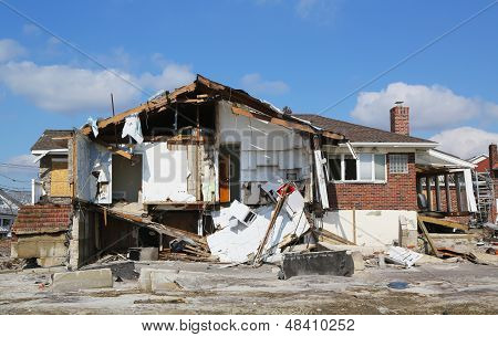 Destroyed beach house four months after Hurricane Sandy