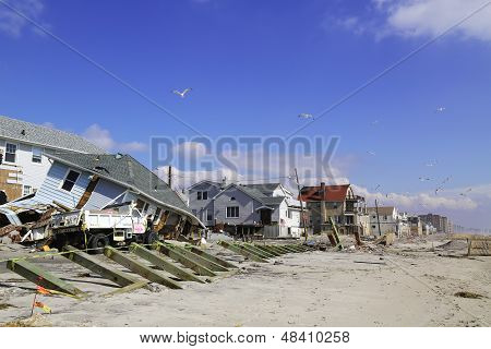 Destroyed beach houses four months after  Hurricane Sandy