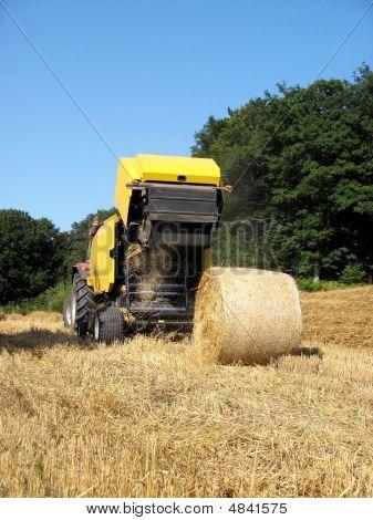Baler Discharging  Round Bale