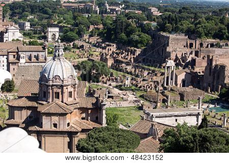 Panoramic View Of The Forum In Rome