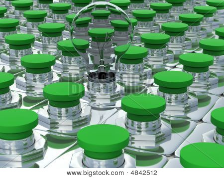 Green Buttons And One Bulb. 3D Image