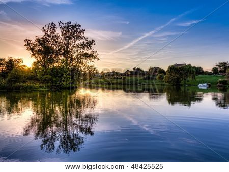 Sunset scene on a small lake in Central Kentucky