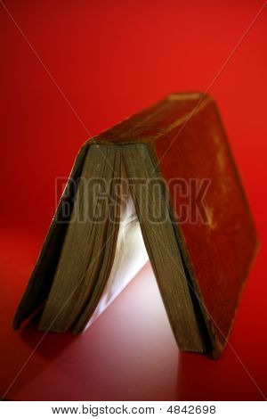 Old Aged Book Close Up, Light Glowing Inside