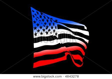 Usa Flag Shape Blowing In The Wind