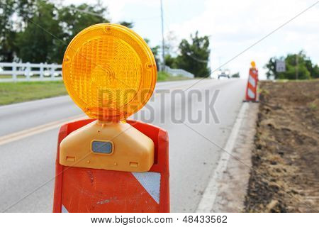 Construction cones on a road