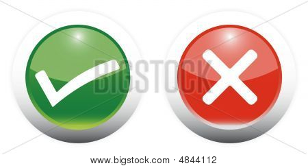 Tick And Cross Sign Web Buttons