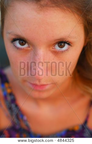 Face Of Beautiful Young Blond Girl