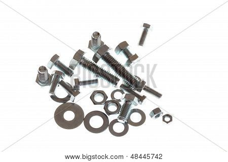 Nut And Bolt Isolated On White