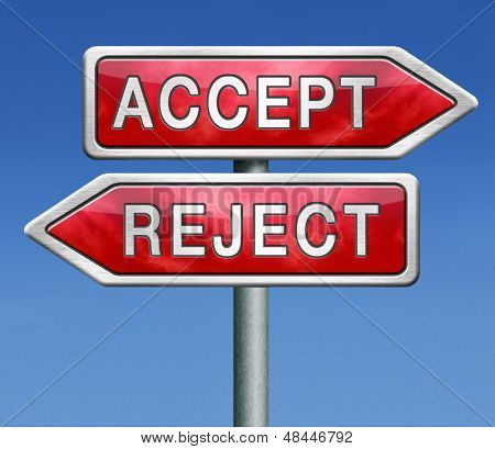 accept or refuse offer proposal or invitation, yes or no