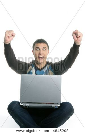 Student Happy Laptop, Success Gesture Expression