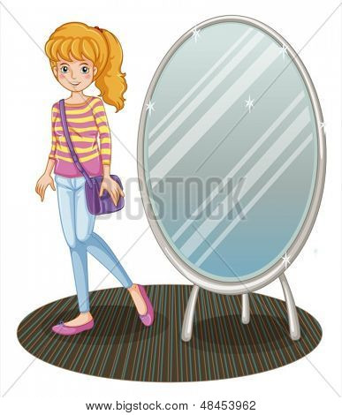 Abbildung eines Mädchens neben einem Spiegel auf weißem Hintergrund