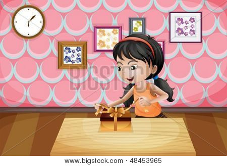 Illustration of a girl unwrapping her present