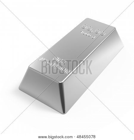 Magnesium ingot isolated on white. Computer generated 3D photo rendering.