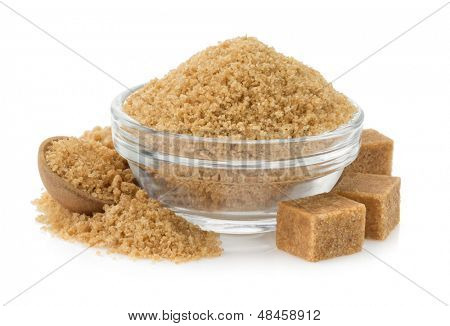 brown sugar in bowl isolated on white background