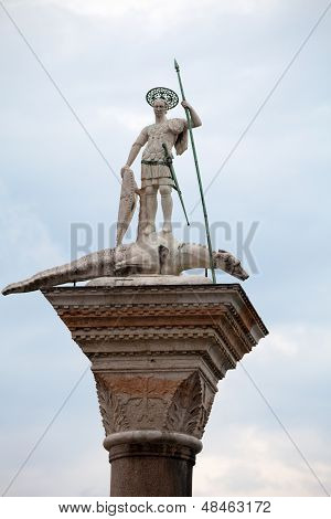 Venice. Piazetta - sculpture of St. Theodore Venice's first patron