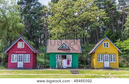 Traditional Wooden Houses On Curonian Spit