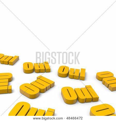 Many Yes French Orange Text