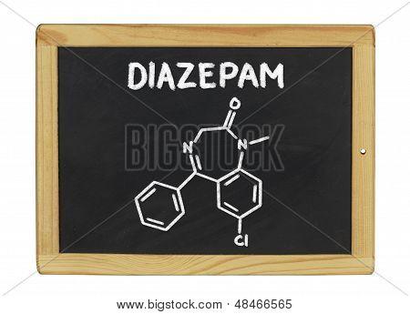 chemical formula of diazepam on a blackboard