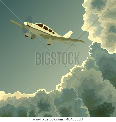 Private Plane Among Clouds At Dusk.