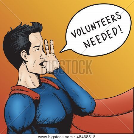Volunteers Wanted! Cartoon Vector Illustration.