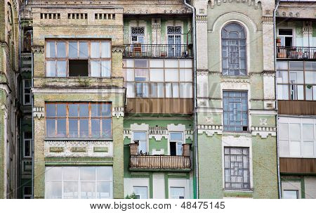 Facade of old multi-apartment building
