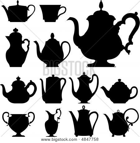 Teapots In Vector Silhouette