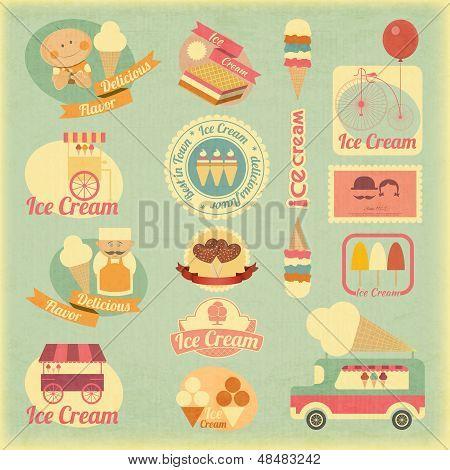 Ice Cream Retro Labels