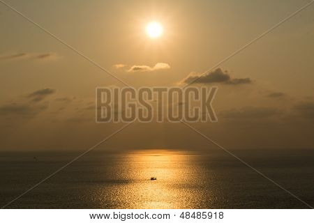 Fishing Boats At Sunset Silhouette