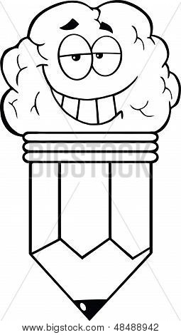 Outlined Clever Pencil Cartoon Character