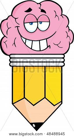 Clever Pencil Cartoon Character