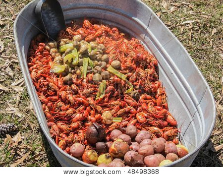 Tub of craw fish cooked