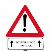 stock photo of illiteracy  - warning sign with supplementary sign with  - JPG