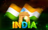 stock photo of ashok  - illustration of India Gate with Tricolor Flag - JPG