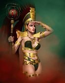 foto of headdress  - 3d computer graphics of a woman with an ancient fantasy dress and a feather headdress on her head - JPG