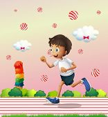 Illustration of a boy jogging at the candyland